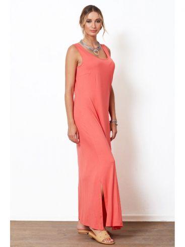 ANNA RAXEVSKY Κοραλλί αμάνικο μάξι φόρεμα βισκόζ DF21134 CORAL
