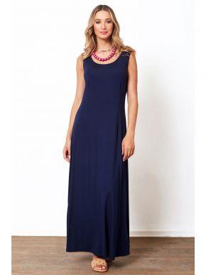 ANNA RAXEVSKY Μπλέ αμάνικο μάξι φόρεμα βισκόζ DF21134 BLUE