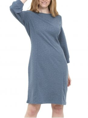 FRANSA Μακρυμάνικο μπλέ ανάγλυφο φόρεμα 20609585-184028