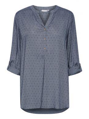 FRANSA Γυναικείο μπλέ indigo μάο πουκάμισο καφτάνι 20609828-184028