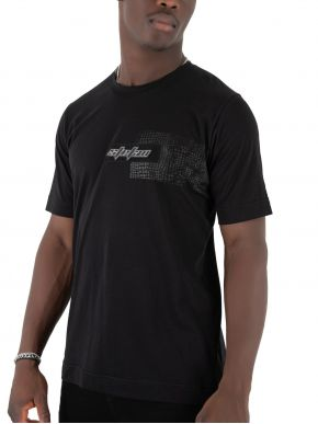 STEFAN Ανδρικό μαύρο κοντομάνικο μπλουζάκι T-Shirt 3500