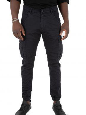 STEFAN Ανδρικό μαύρο ελαστικό cargo παντελόνι 2017