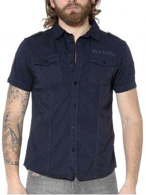 VON DUTCH Ανδρικό μπλέ κοντομάνικο πουκάμισο, τσέπες με κουμπί