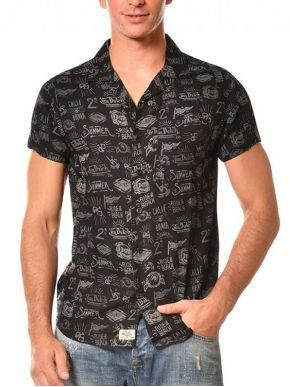 VON DUTCH Ανδρικό μαύρο κοντομάνικο πουκάμισο, τσεπάκι