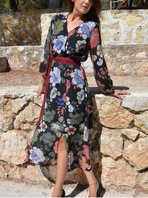 ESQUIVO Φλοράλ κρουαζέ ασύμμετρο φόρεμα