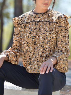 ESQUIVO Γυναικεία φλοράλ μακρυμάνικη πουκαμίσα