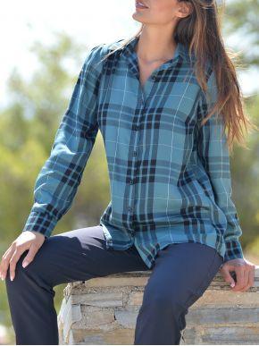 ESQUIVO Γυναικεία μπλέ καρό μακρυμάνικη πουκαμίσα καφτάνι