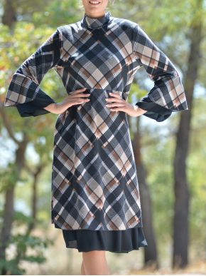 ESQUIVO Μπέζ-καφέ μακρύ καρό φόρεμα
