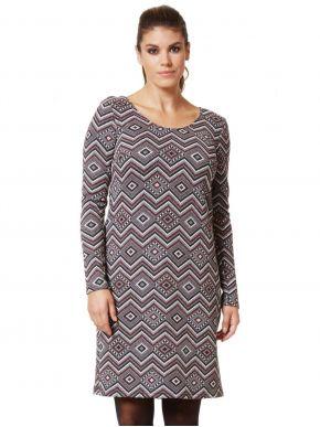 ANNA RAXEVSKY Πολύχρωμο μακρυμάνικο ζακάρ φόρεμα με lurex D20208