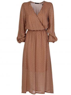 ESQUIVO Φλοράλ μακρυμάνικο κρουαζέ φόρεμα