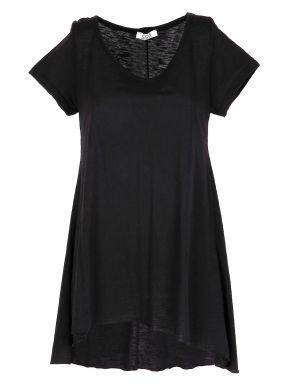 EIGHTY EIGHT Μαύρο κοντομάνικο μπλουζοφόρεμα φλάμα
