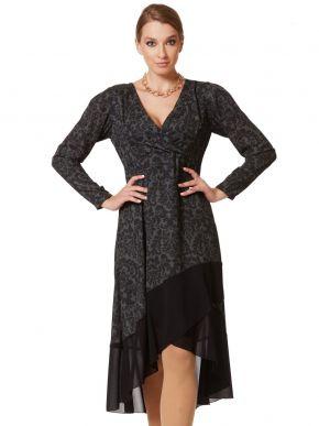 ANNA RAXEVSKY Φόρεμα μαύρο μακρυμάνικο, κρουαζέ D20207