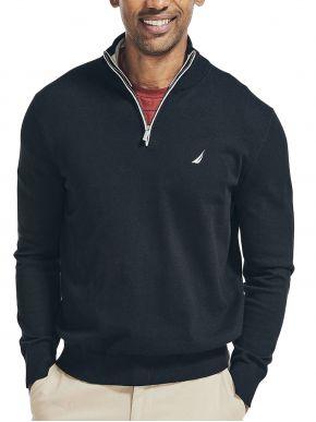 NAUTICA Aνδρικό μαύρο μακρυμάνικo πουλόβερ, φερμουάρ 3NCS17100 OTB True Black