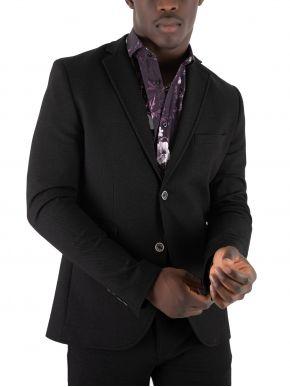 STEFAN Ανδρικό μαύρο μεσάτο ανάγλυφο σακάκι 1003
