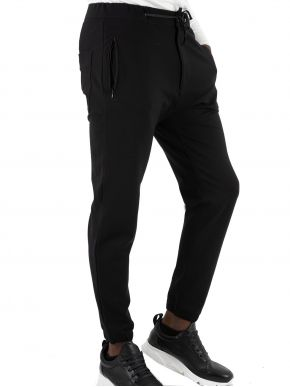 STEFAN Ανδρικό μαύρο ελαστικό παντελόνι 6016