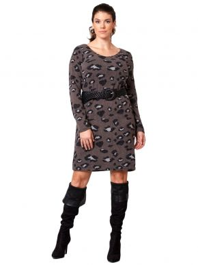 ANNA RAXEVSKY Πλεκτό φόρεμα με animal print D21200 Grey
