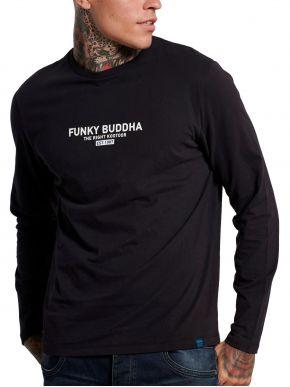 FUNKY BUDDHA Ανδρική μαύρη μακρυμάνικη λεπτή μπλούζα FBM002-001-07 Black