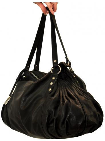 ΜΑΧΙΜΑ Δερμάτινη Ιταλική τσάντα με σούρες