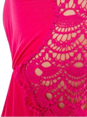LAVAND φούξια aμπίρ φόρεμα με δαντέλα