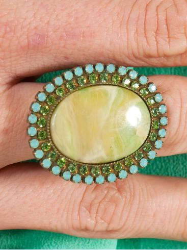 FRANGOS Χειροποίητο δαχτυλίδι με Swarovski και πέτρα